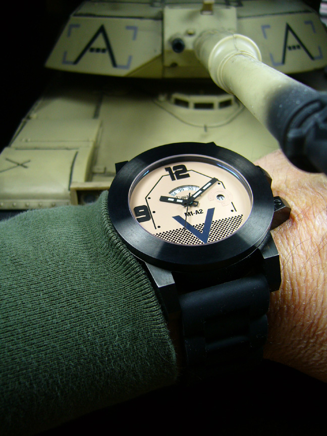 M1 Abrams tank watch in black quartz