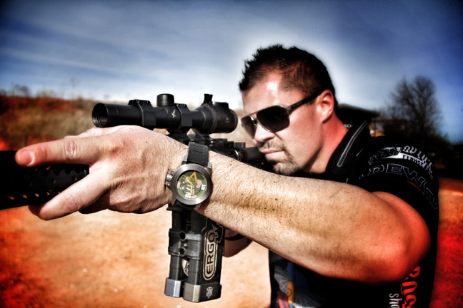 Jesse Tischauser Competition Shooter with Morpehus M1A2 Abrams Tank watch